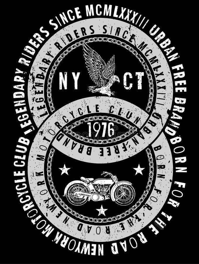 Weinlese-Motorrad-T-Shirt Grafik stock abbildung