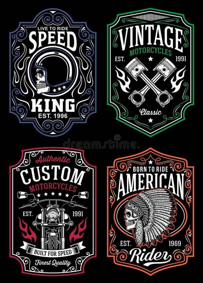 Weinlese-Motorrad-T-Shirt grafische Sammlung lizenzfreie abbildung