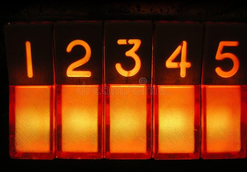 Weinlese-Musikautomat - Tasten eine bis fünf stockfotos