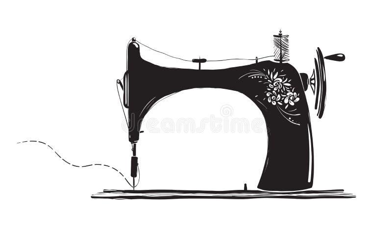 Weinlese-Nähmaschine-tintige Illustration