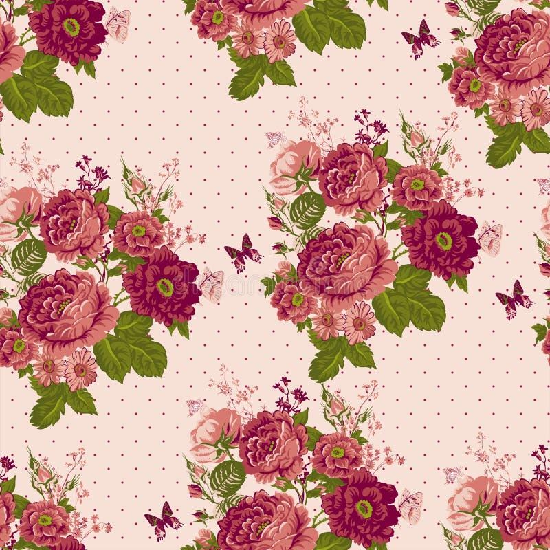 weinlese nahtloser rosen hintergrund mit schmetterlingen. Black Bedroom Furniture Sets. Home Design Ideas