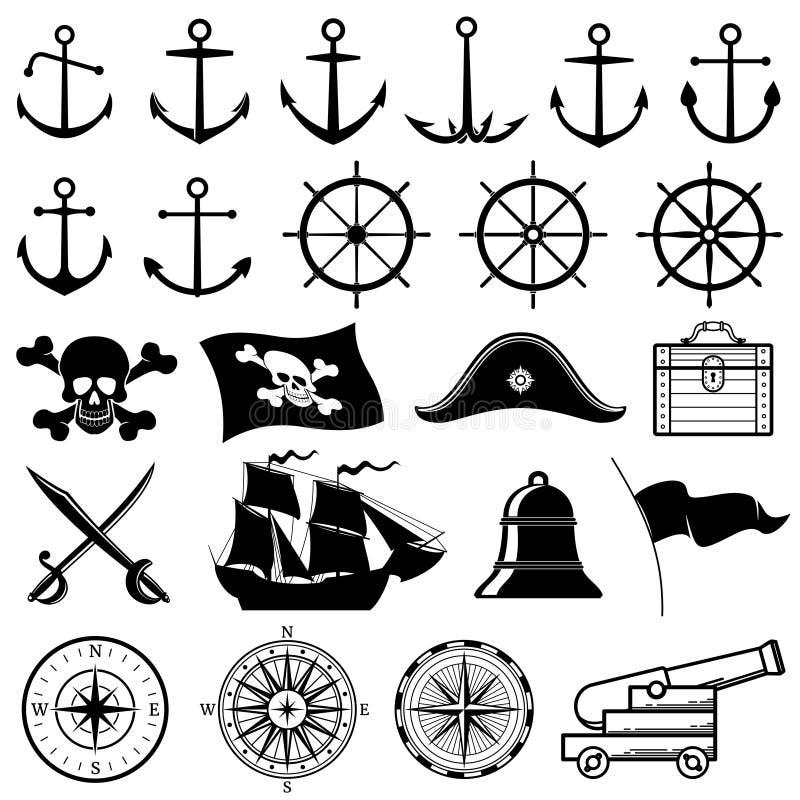 Weinlese nautisch, Marine, Marine, Piratenvektorikonen lizenzfreie abbildung