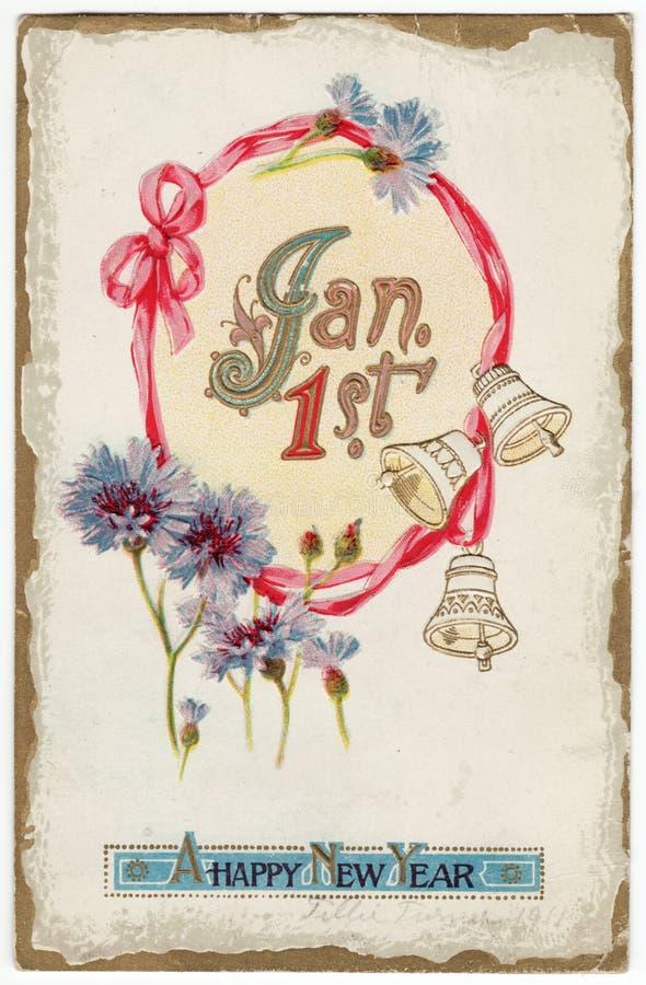 Weinlese-neue Jahr-Postkarte 1. Januar lizenzfreie abbildung
