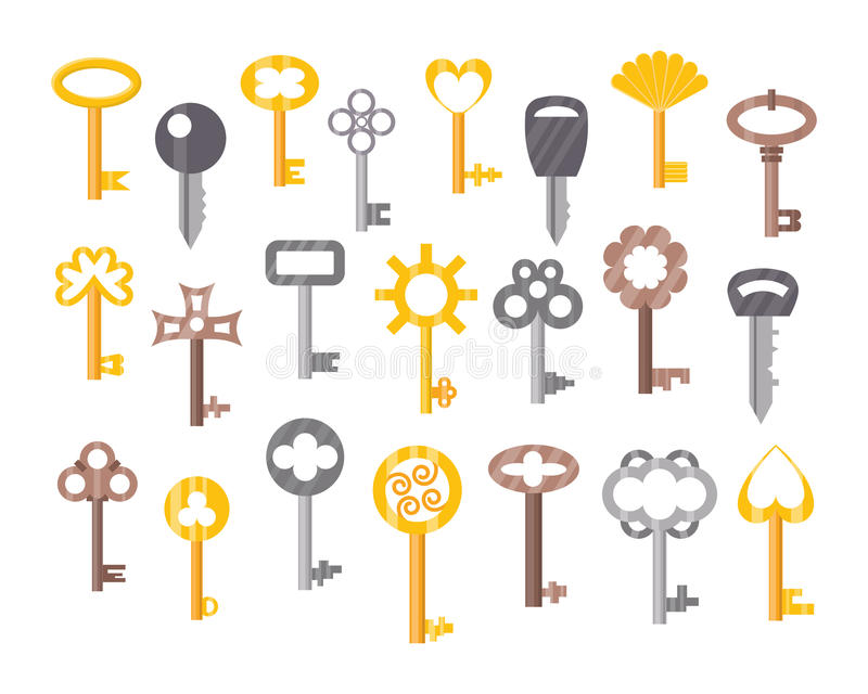 Weinlese- oder Antikentürschlüssel lokalisierte Sicherheits-Hausschutz des Zugangshaushaltswerkzeugs Retro- Metallund dekoratives stock abbildung