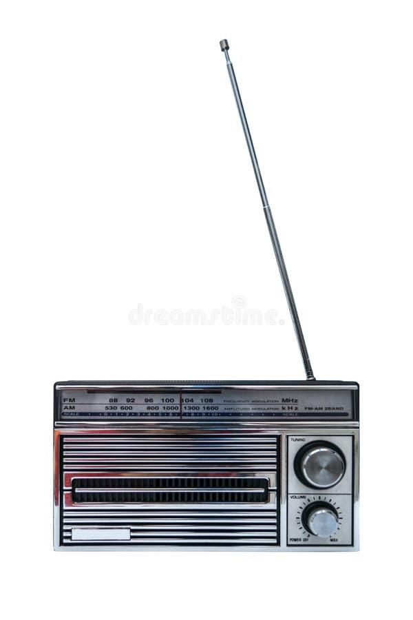 Weinlese oder klassischer Retro- Radio mit Frequenz morgens FM lokalisiert auf weißem Hintergrund stockfoto