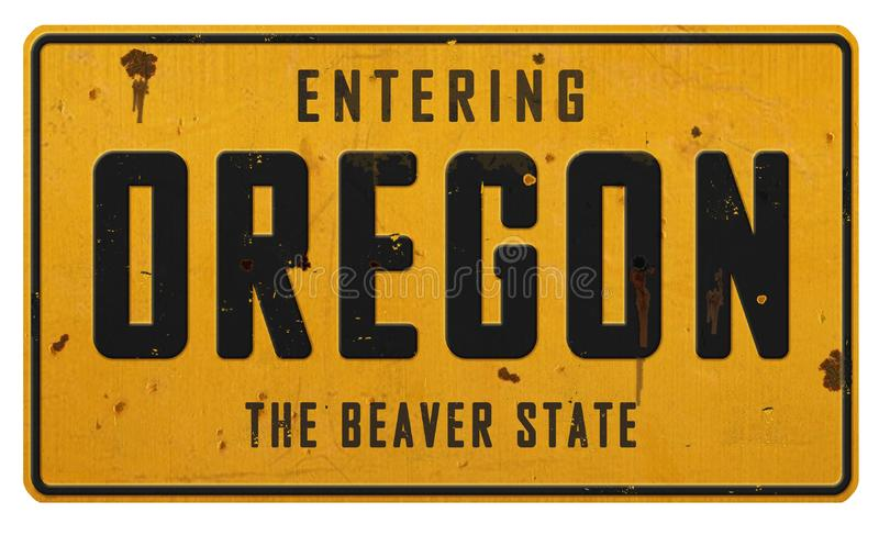Weinlese-Oregon-Landstraßen-Zeichen-Metall der Biber-Zustand lizenzfreie stockbilder