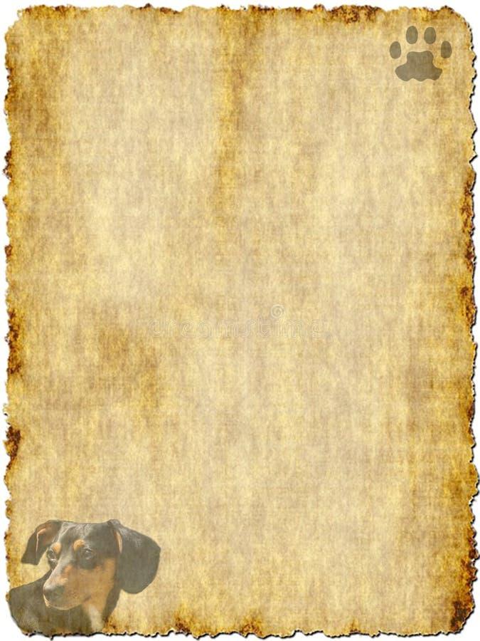 Weinlese-Papier mit Dachshund lizenzfreies stockbild