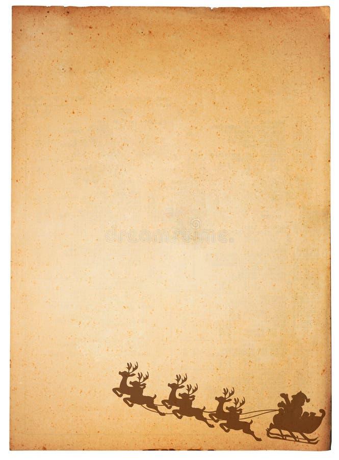 Weinlese-Papier und Weihnachtsmann lizenzfreie abbildung