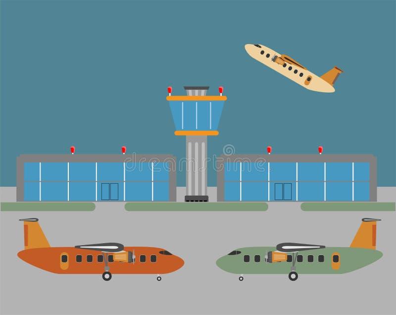 Weinlese-Passagierturboprop-triebwerk Flugzeug und Flughafen-Plan vektor abbildung