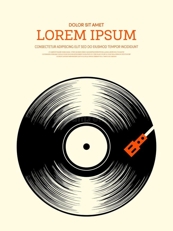 Weinlese-Plakathintergrund der Musik Retro- lizenzfreie abbildung