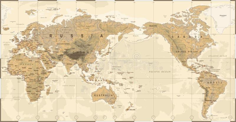 Weinlese-politische körperliche topographische Weltkarte Pazifik zentrierte stock abbildung