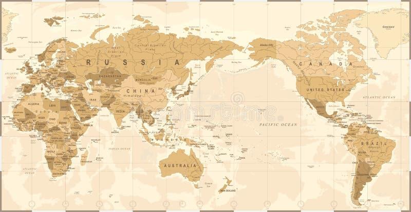 Weinlese-politische Weltkarte Pazifik zentrierte lizenzfreie abbildung