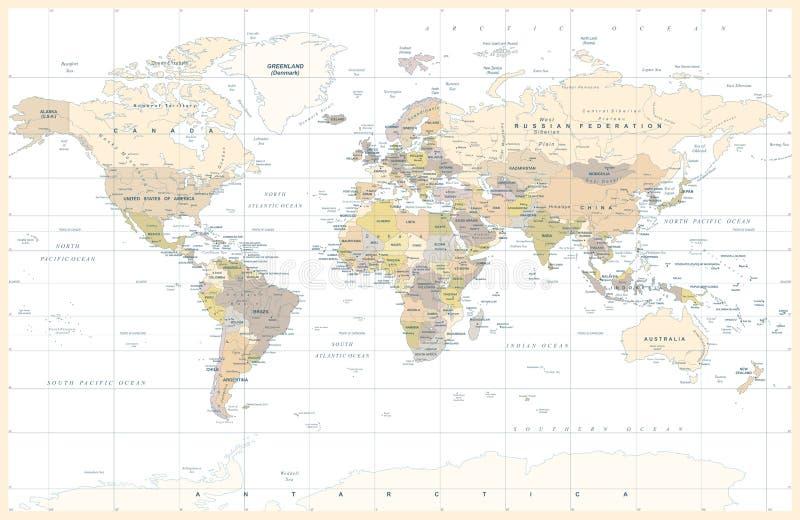 Weinlese-politischer topographischer farbiger Weltkarte-Vektor lizenzfreie abbildung
