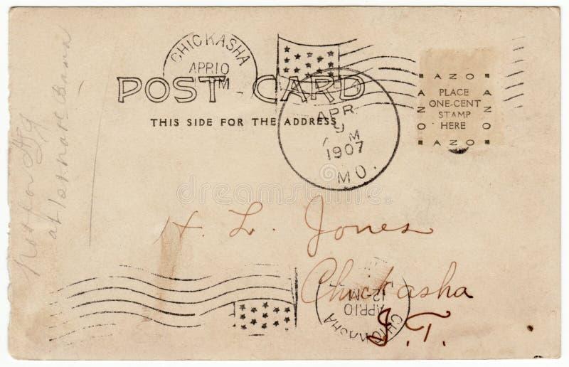 Weinlese-Postkarte-Dreiergruppen-Poststempel-Inder-Gegend vektor abbildung