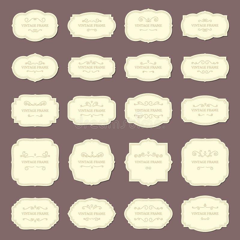 Weinlese-Rahmen-Aufkleber Rechteck- und Ovalhochzeitsrahmen Antiker Aufkleber mit Grenzvektorsatz lizenzfreie abbildung