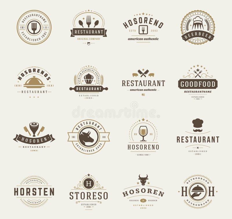 Weinlese-Restaurant-Logo-Design-Schablonen eingestellt stock abbildung