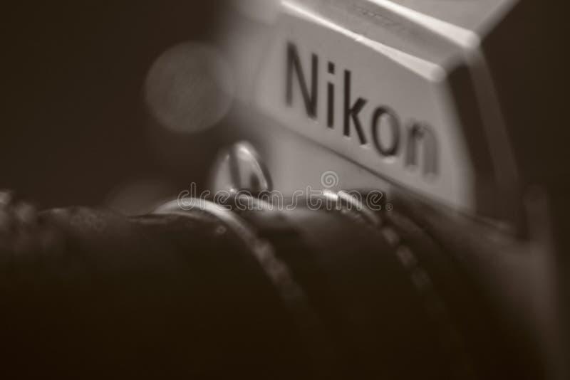 Weinlese Retro- analoge Nikon-Kamera stockbild