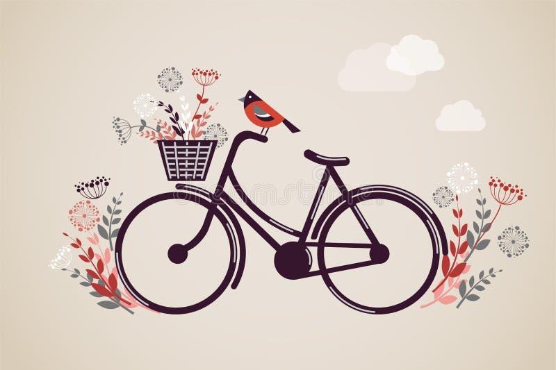 Weinlese-Retro- Fahrrad-Hintergrund vektor abbildung