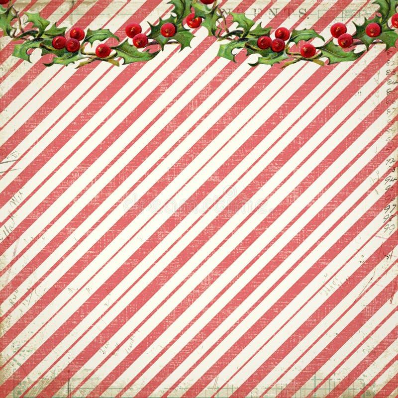 Weinlese-Retro- gestreifte Hintergrund-Beschaffenheit - rot- weiß- Stechpalme - Weihnachtsbeschaffenheit lizenzfreie abbildung