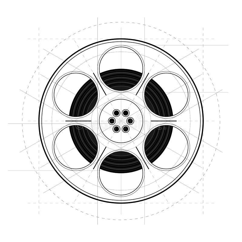 Weinlese-Retro- Skizzen-Art-Film-Spule auf lokalisiertem weißem Hintergrund vektor abbildung