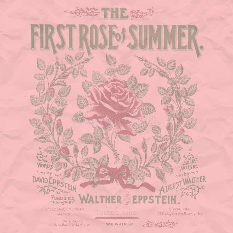 Weinlese-Rosen-Collagen-Papier-Hintergrund - schäbige schicke Blumen-Rose Adorned Texture stock abbildung