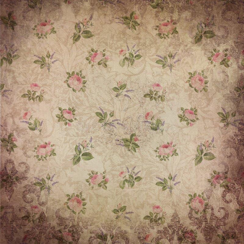 Weinlese-Rosen-Muster-Hintergrund - Spitze - Rose Pattern - rosa Grün stock abbildung