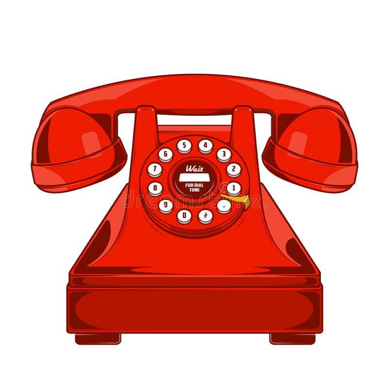 Weinlese-rotes Telefon mit Knöpfen wählen den Ring, der auf einem weißen Hintergrund lokalisiert wird Einfarbige Linie Kunst Retr vektor abbildung