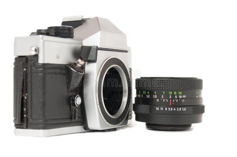 Weinlese-ruhige Kamera und Objektiv lizenzfreie stockbilder