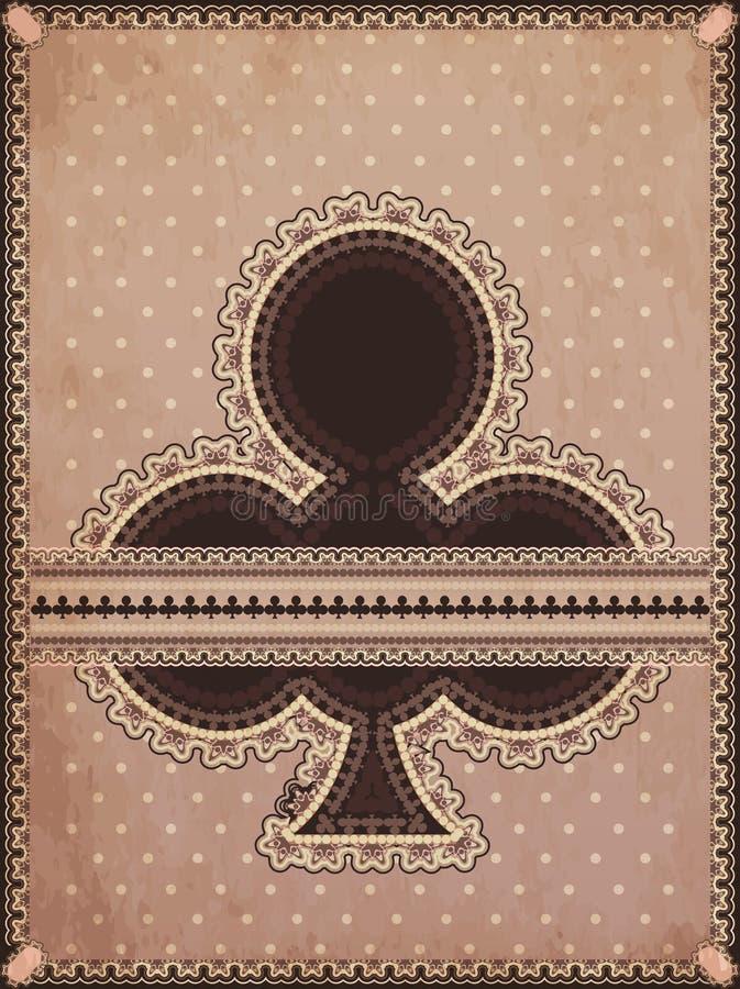 Weinlese schlägt Pokerkarte mit einer Keule lizenzfreie abbildung