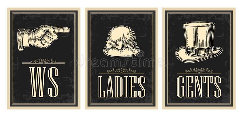 Weinlese-Schmutzplakat der Toilette Retro- Damen, Cents, Finger zeigend lizenzfreie abbildung