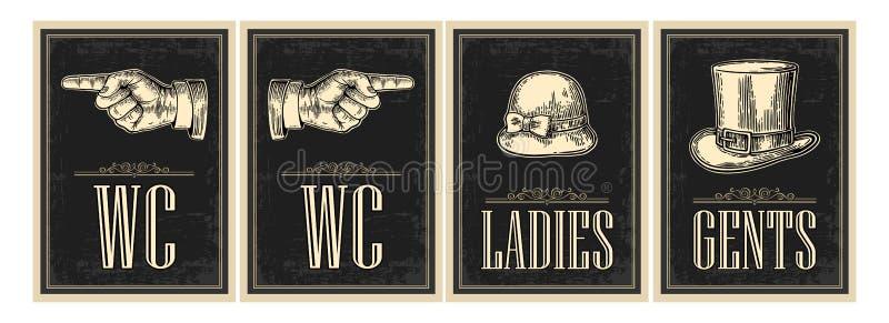 Weinlese-Schmutzplakat der Toilette Retro- Damen, Cents, Finger zeigend Vector Weinlese gravierte Illustration auf einem schwarze vektor abbildung