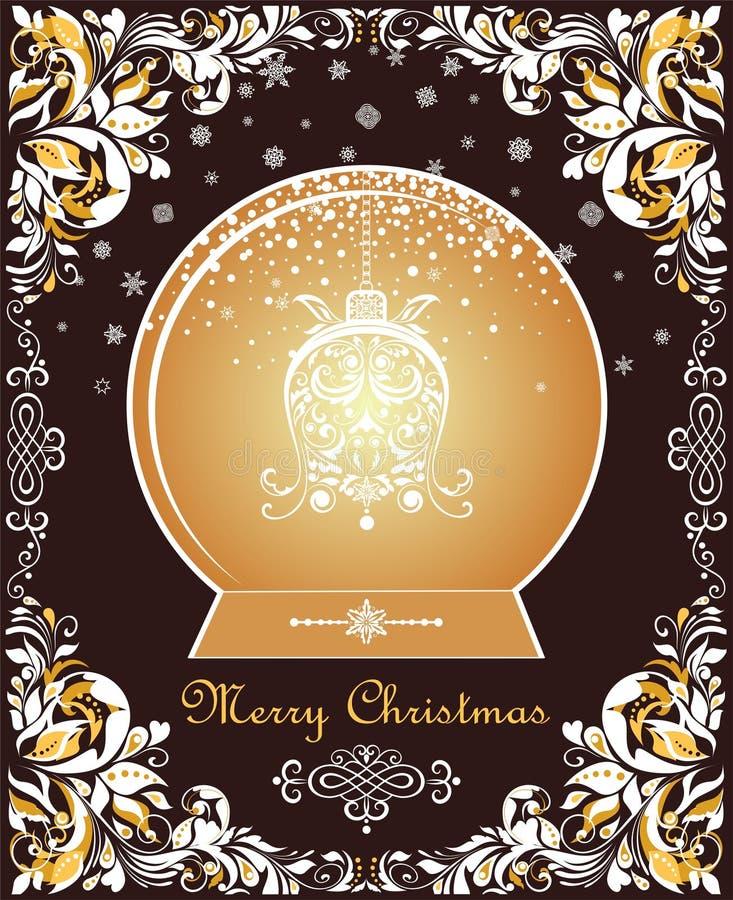 Weinlese-schnitt aufwändige Weihnachtsgrußkarte mit Blumenpapier Grenz- und Goldweihnachtskugel mit hängender Glocke des Handwerk vektor abbildung