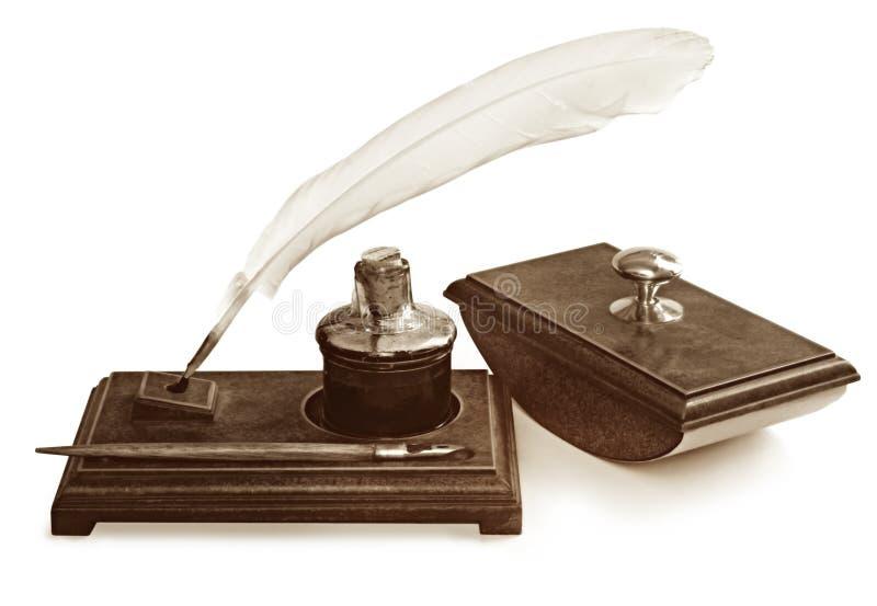 Weinlese-Schreibens-Set stockfoto