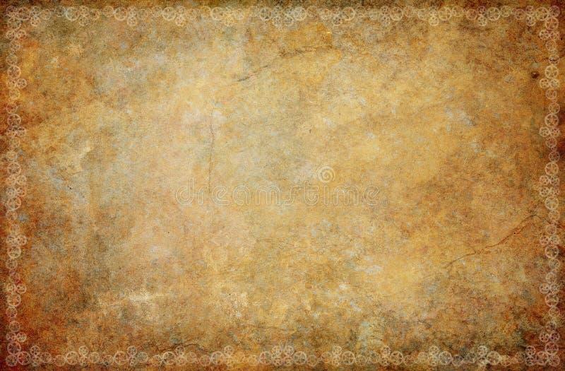Weinlese Sepia-Schmutz Steampunk-Hintergrund-Grenze lizenzfreie stockfotografie