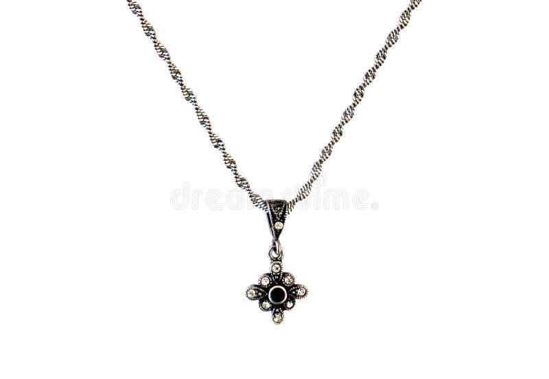 Weinlese-silberne Halskette stockfotografie