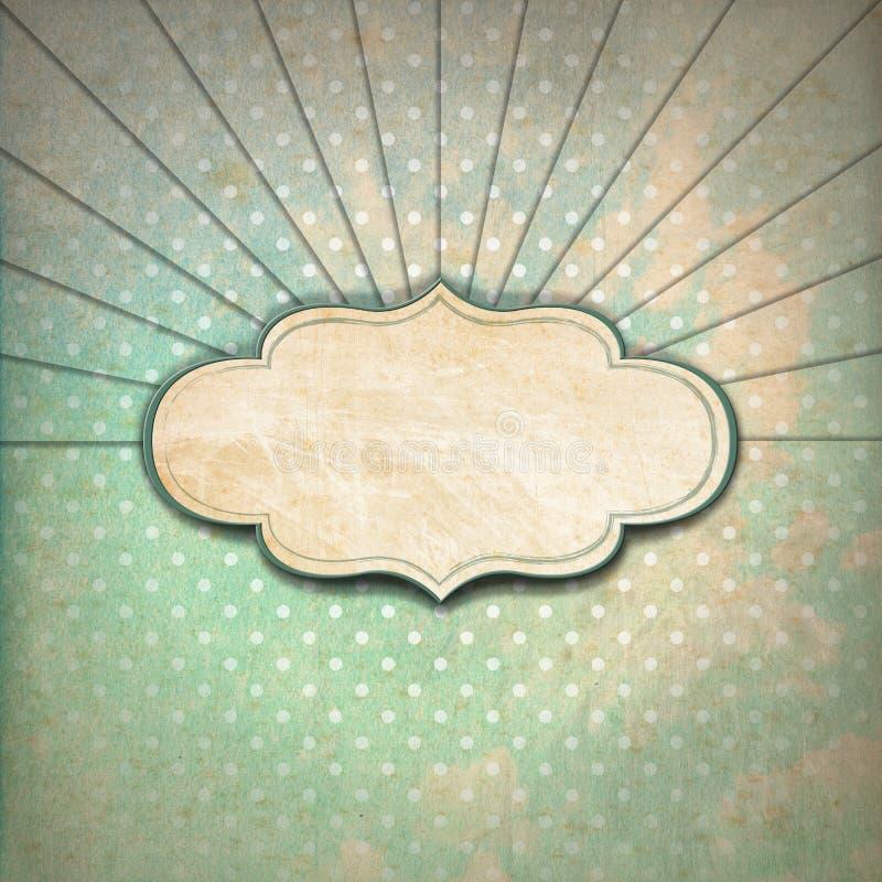 Weinlese-Sonnenstrahl-Hintergrund mit Aufkleber lizenzfreie abbildung