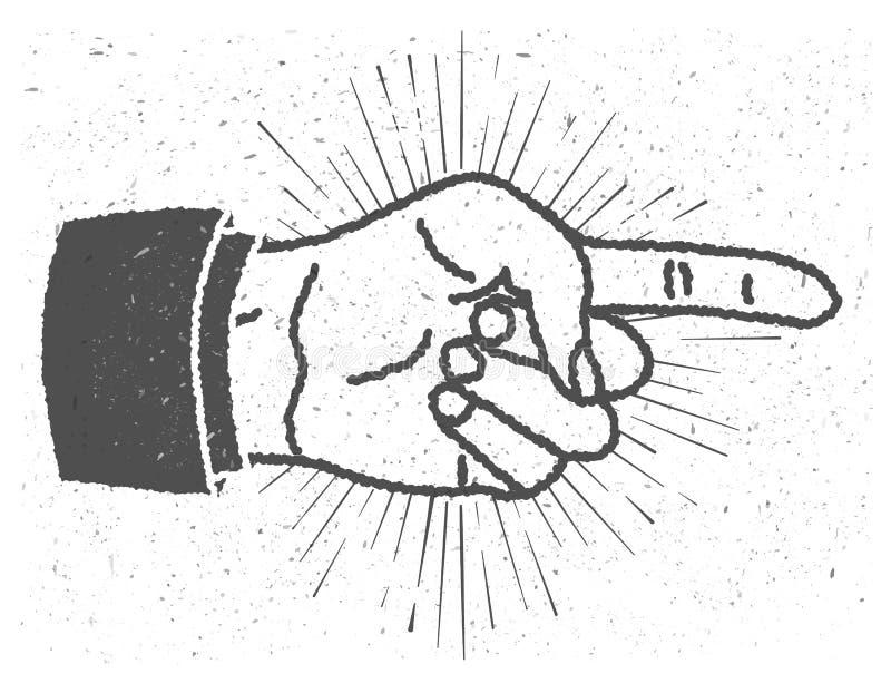 Weinlese spornte Hand mit dem Zeigen des Fingerzeichens an lizenzfreie abbildung