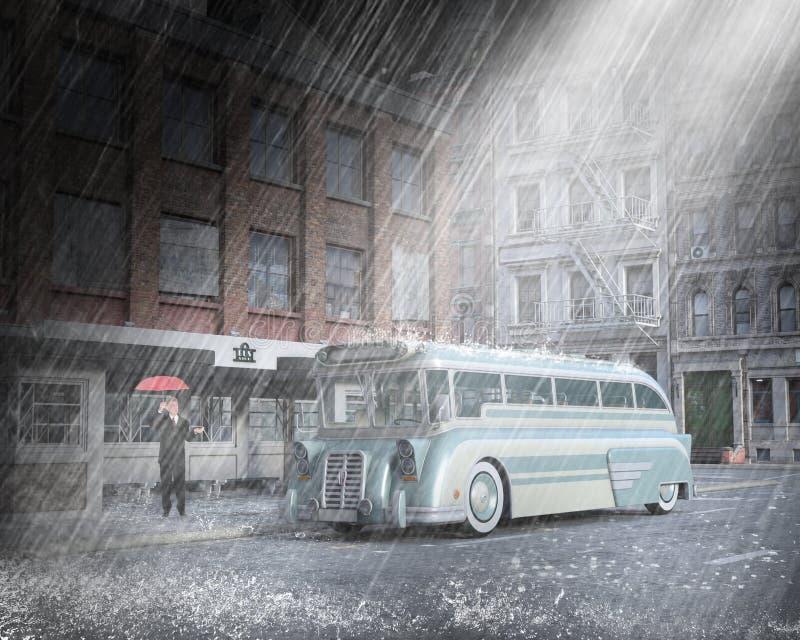 Weinlese-Stadt-Bus, Mann, Regen lizenzfreie stockfotografie