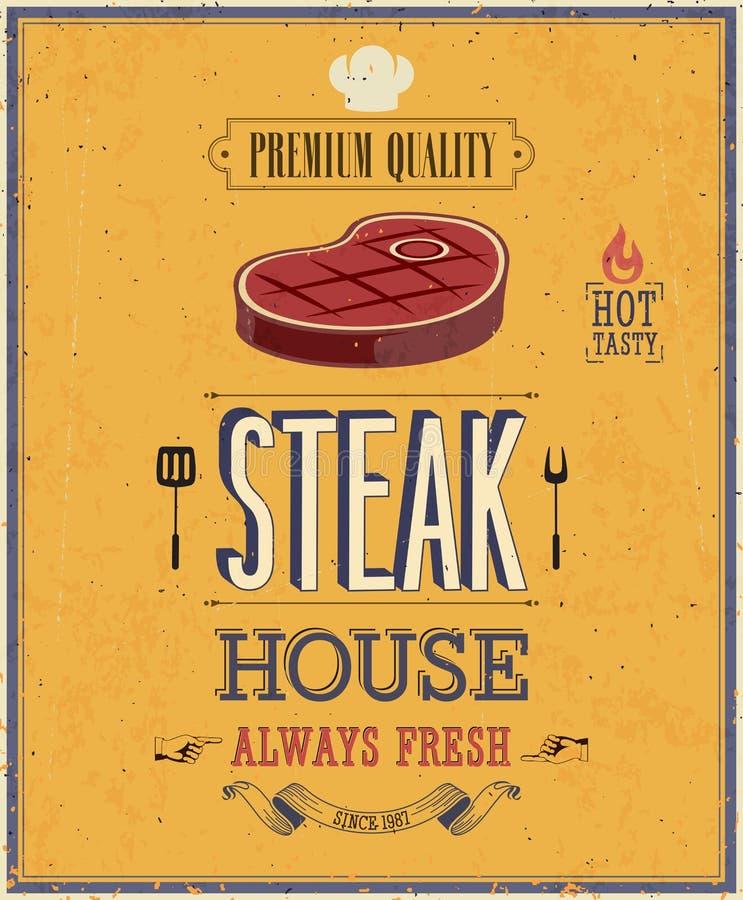 Weinlese-Steakhaus-Plakat. stock abbildung