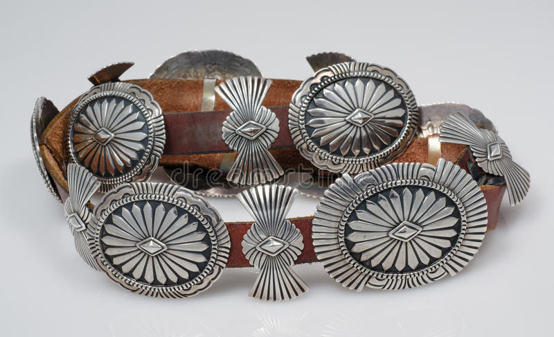 Weinlese, Sterling Silver, Concho-Gurt des amerikanischen Ureinwohners. lizenzfreies stockfoto
