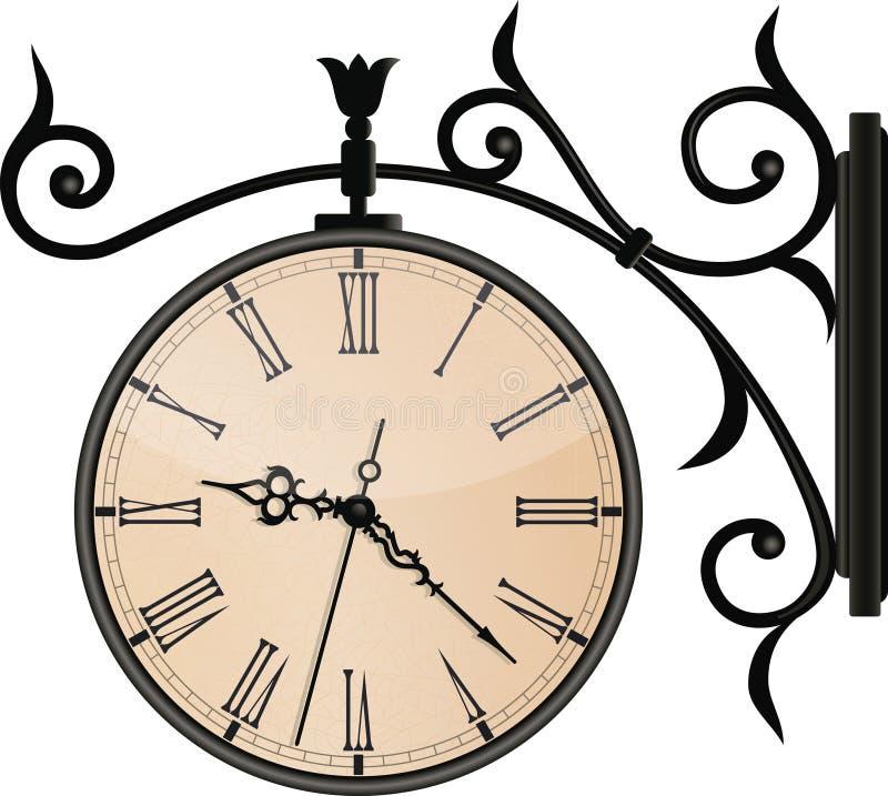 Weinlese-Straßen-Uhr. EPS10 lizenzfreie abbildung