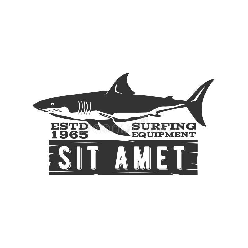Weinlese-surfendes Speicher-Ausweisdesign Brandungsgang-Shop Emblem für Webdesign oder Druck Retro- Haifischlogodesign brandung lizenzfreie abbildung