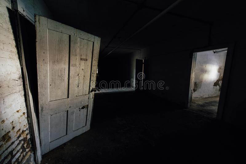 Weinlese-Türen im gruseligen Keller - verlassenes Sweet Springs - West Virginia stockfotos