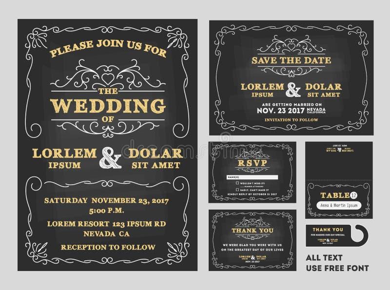 Weinlese-Tafel-Hochzeits-Einladungsdesignsatz lizenzfreie abbildung