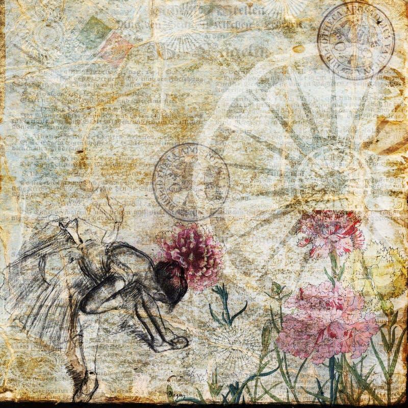 Weinlese-Text-Collagen-viktorianisches Hintergrund-Papier stock abbildung