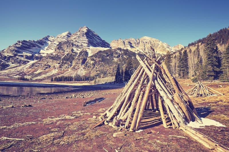 Weinlese tonte Campingplatz bei kastanienbraunen Bell, USA lizenzfreies stockbild