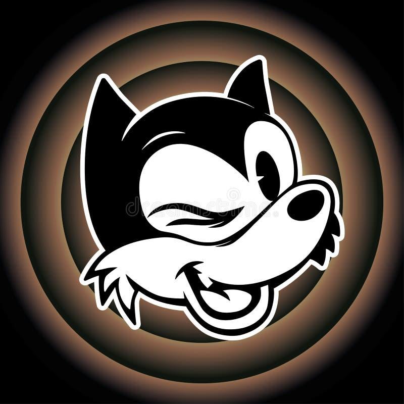 Weinlese toons Retro- Zeichentrickfilm-Figur-smiley woolf blinzelt auf den looney Melodien des Hintergrundes lizenzfreies stockbild