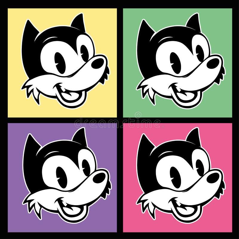 Weinlese toons vier Bilder Retro- Zeichentrickfilm-Figur-smiley woolf auf dem bunten Hintergrund stock abbildung