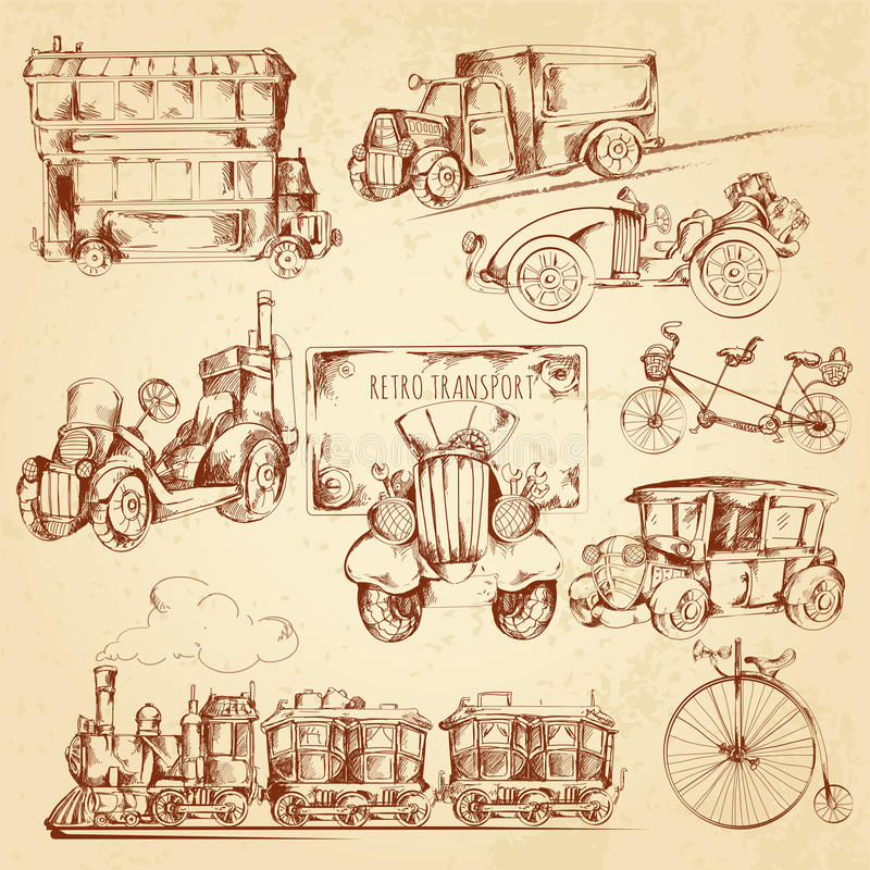 Weinlese-Transport-Skizze vektor abbildung