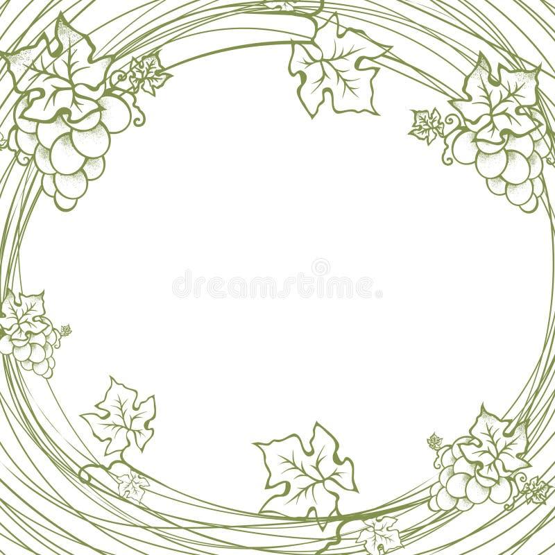 Weinlese-Trauben-runder Rahmen lizenzfreie abbildung